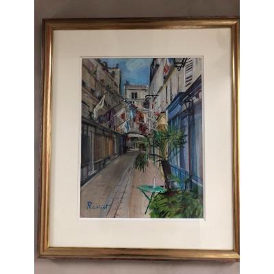 Marc Rassiat Gouache  Sur Papier Rue De Paris