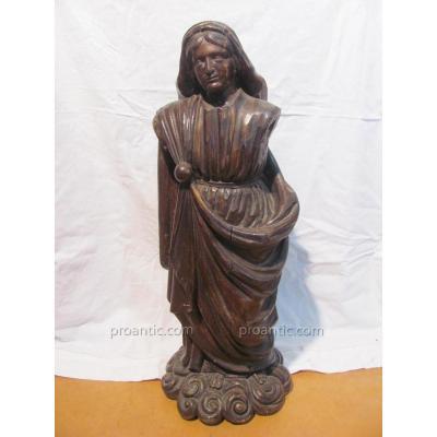 Vierge En Bois Ciré - XVIIeme