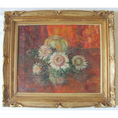 Hst - Bouquets d'Anémones - Micheline Cannaut Utz (xxeme)