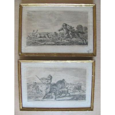 2 Eaux Fortes XVII - Stefano Della Bella - Hunting With Different Animals - Deer