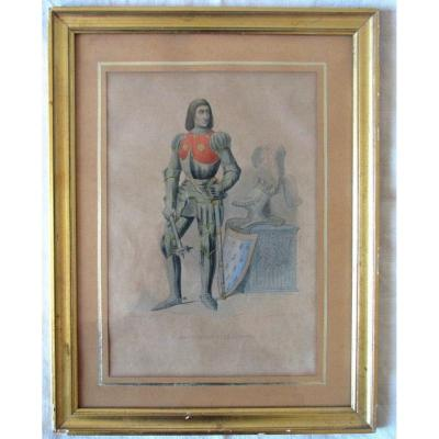 Gravure Aquarellée - Arthur III De Bretagne - Arthus De Richemont - Perlet
