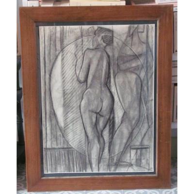 Dessin Fusain -  Femme Au Miroir - Constantin Marceau