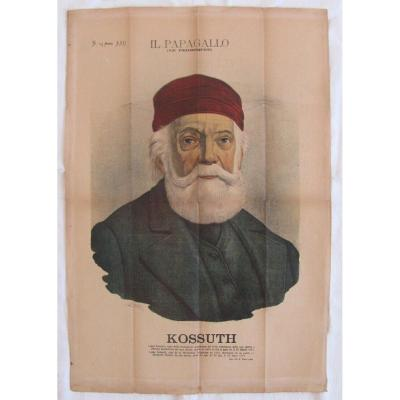 Lithograph - Portrait Of Lajos Kossuth - Hungary - A Grossi