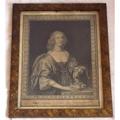 Gravure XVIIe - Portrait De Anna Sophia Comtesse De Carnarvon - P Lombart - Australie