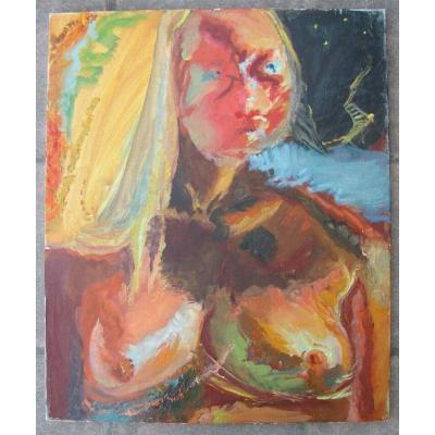Huile Sur Toile - Paul Courtin - Portrait :  Eté De Femme