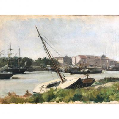 Ecole Française Fin XIXe, Vue du port de Nantes, Monogramme M.B 1887