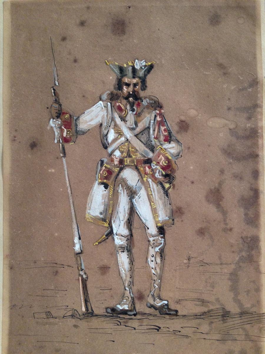 Ecole Du Début Du XIXe, Dessin Caricature, Soldat