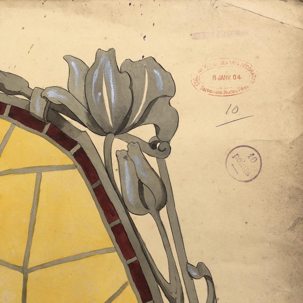 Dessin Art Nouveau, G.fincken d'Autermarche, Etude De Vitrail, Ecole Nationale Arts Décoratifs-photo-2