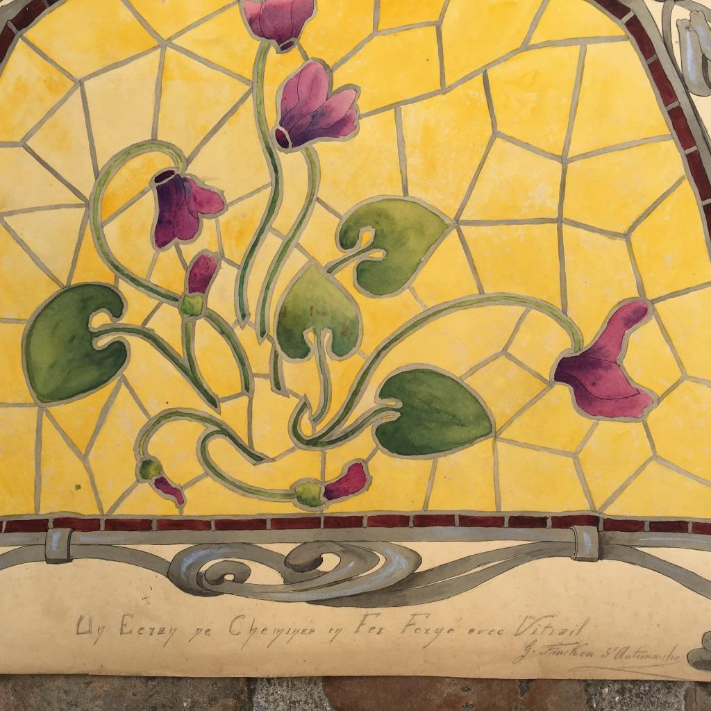 Dessin Art Nouveau, G.fincken d'Autermarche, Etude De Vitrail, Ecole Nationale Arts Décoratifs-photo-3