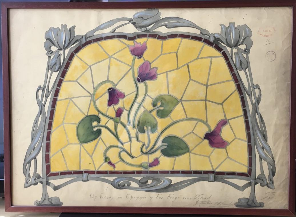Dessin Art Nouveau, G.fincken d'Autermarche, Etude De Vitrail, Ecole Nationale Arts Décoratifs-photo-4