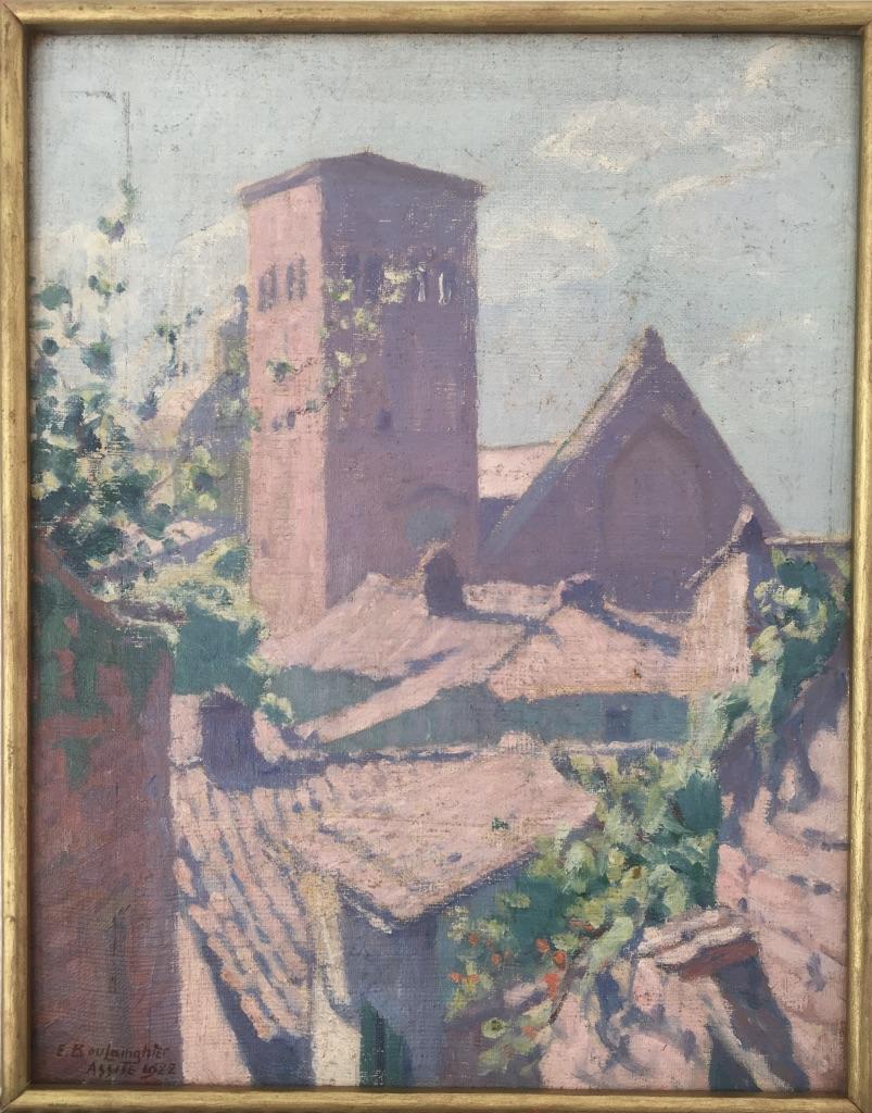 Edouard Boulainghier (XXe), Vue de la Basilique Saint François à Assise, Italie, Huile