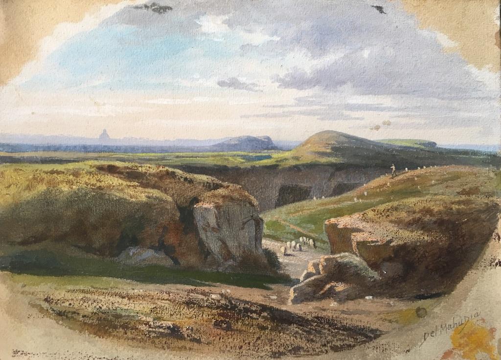 Del Mahudia (ecole Du XIXe Siècle), Paysage Au Berger Italien Dans Les Environs De Rome,gouache
