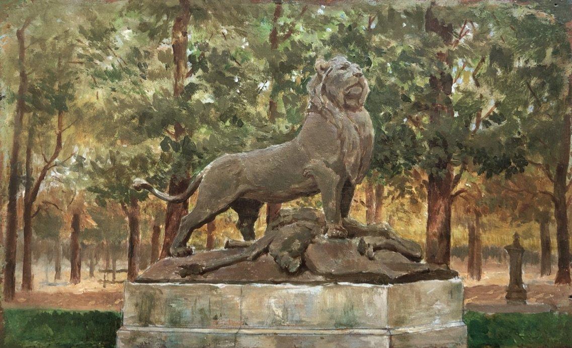 Ecole Française Fin XIXe Siècle, Paire De Tableaux : Les Sculptures De Caïn Aux Tuileries