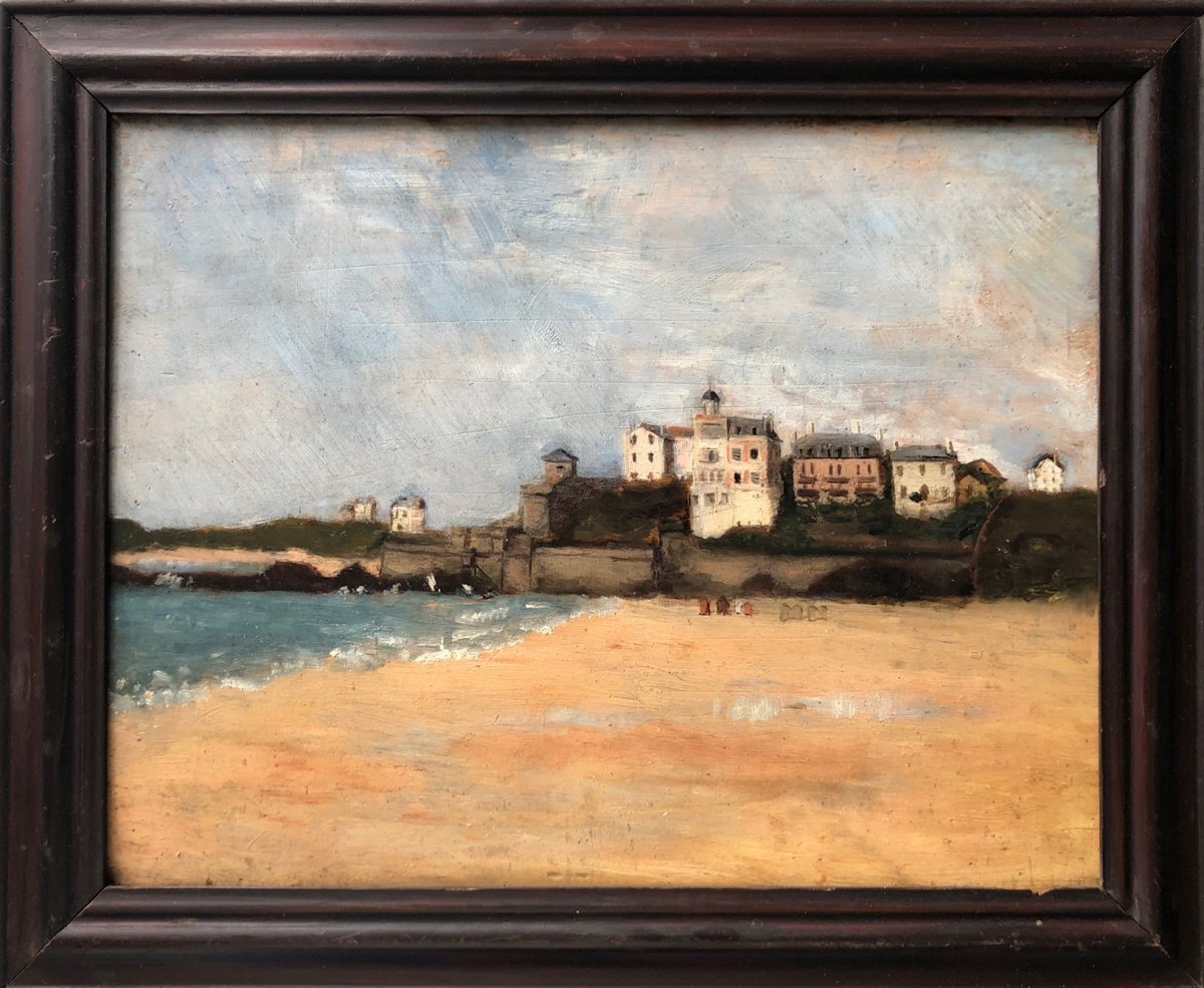 French School Around 1910, Seaside: Beach In Normandy? Oil On Panel