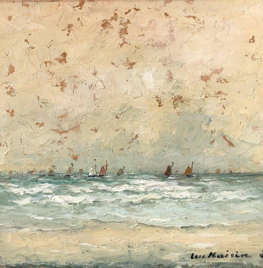 Luc Kaisin (1900-1963), Voiliers Au Large: Marine, Oil On Panel