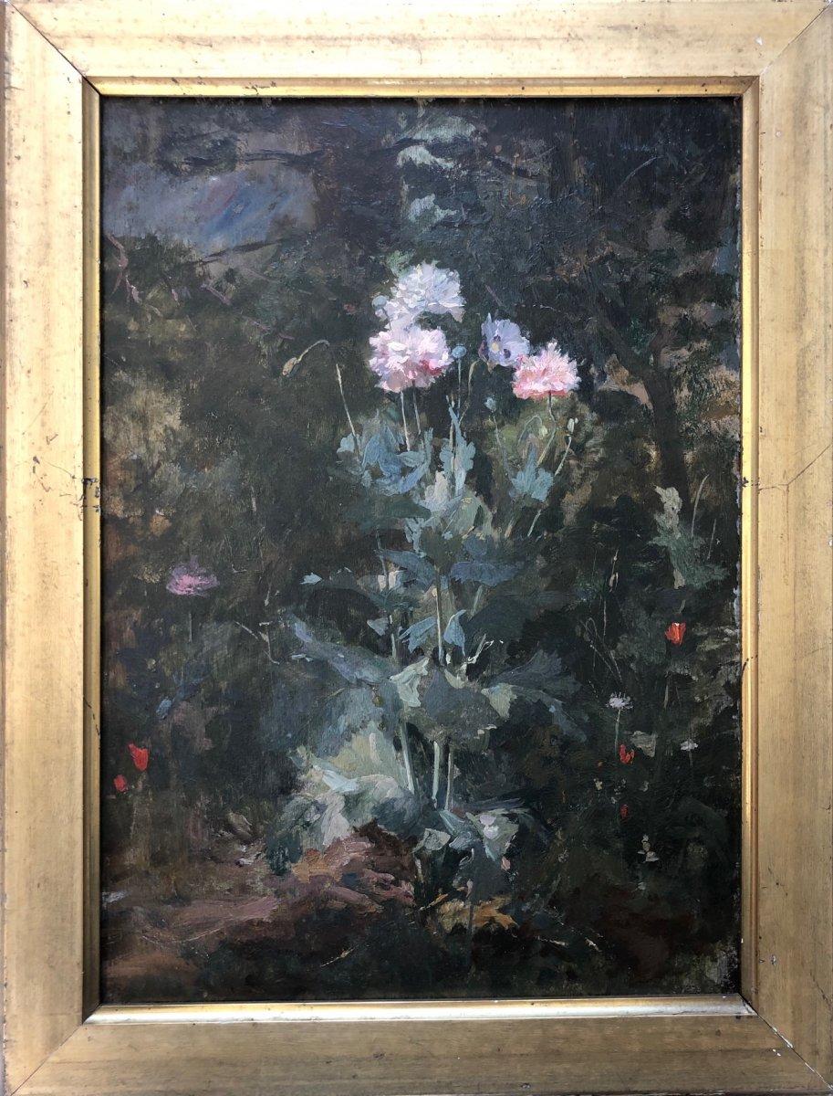 Henri Leroy (1851-?), Paysage De Sous-bois Aux Fleurs De Pavots Et Coquelicots, Huile Panneau