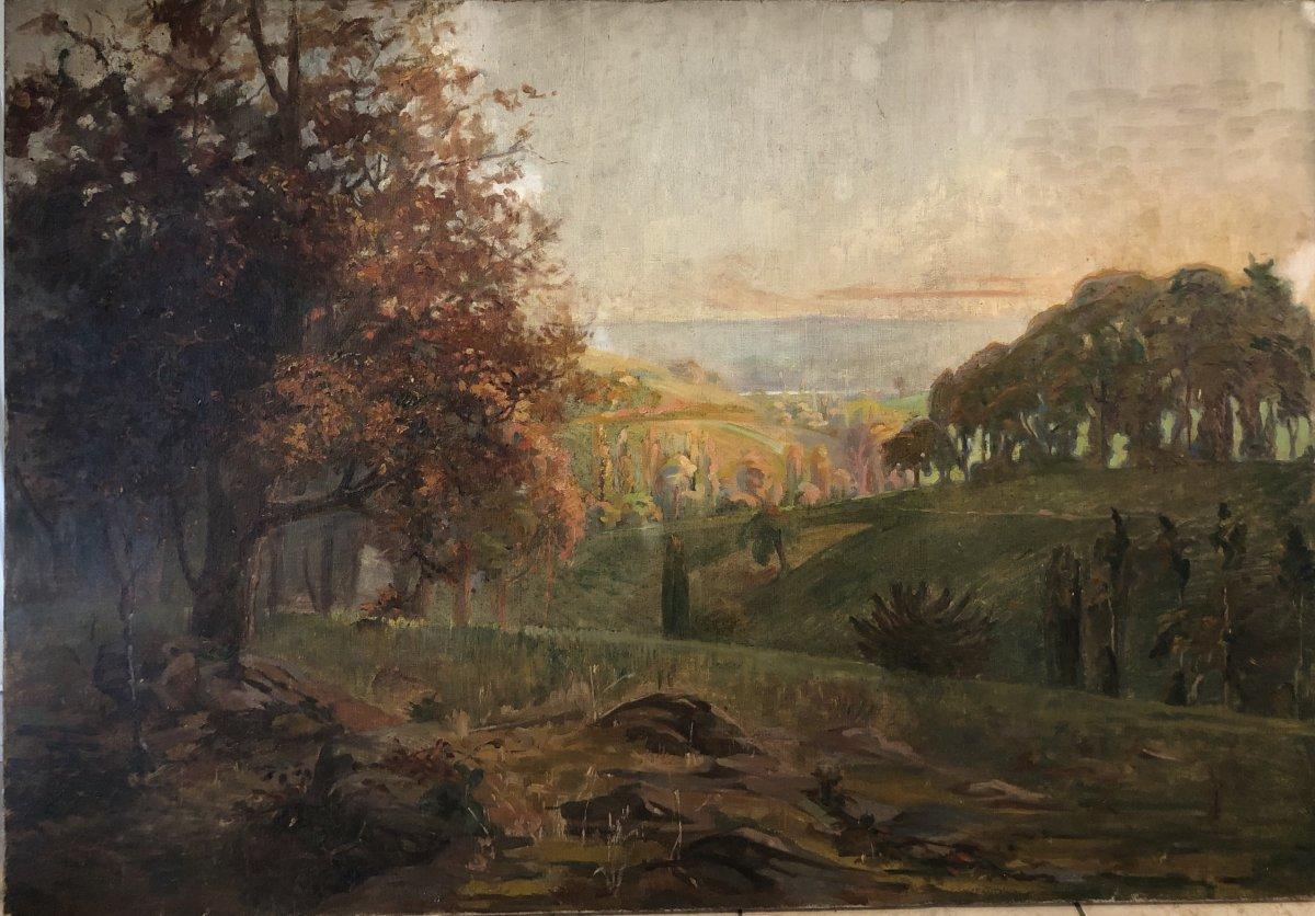 F Guillermain (xxe), Autumn Landscape, Tree, Oil On Canvas