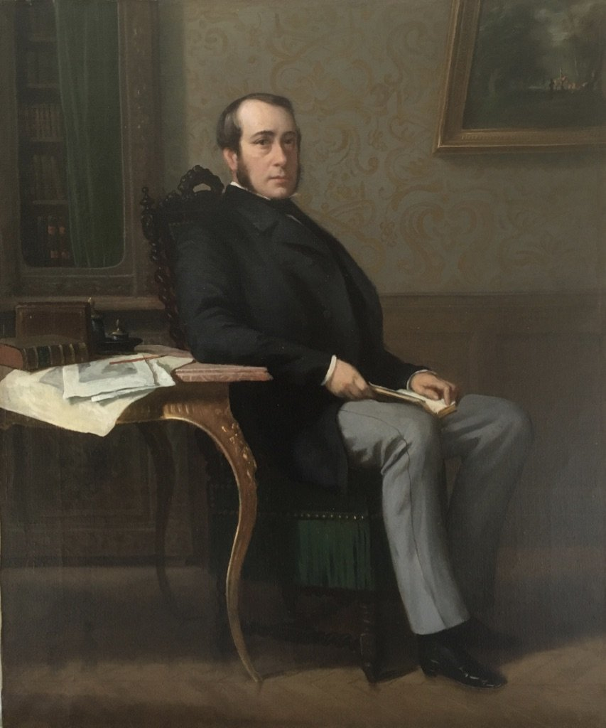 Charles Borromée Houry (1823-1898), Portrait Of Man In His Interior, Oil Canvas, Sèvres