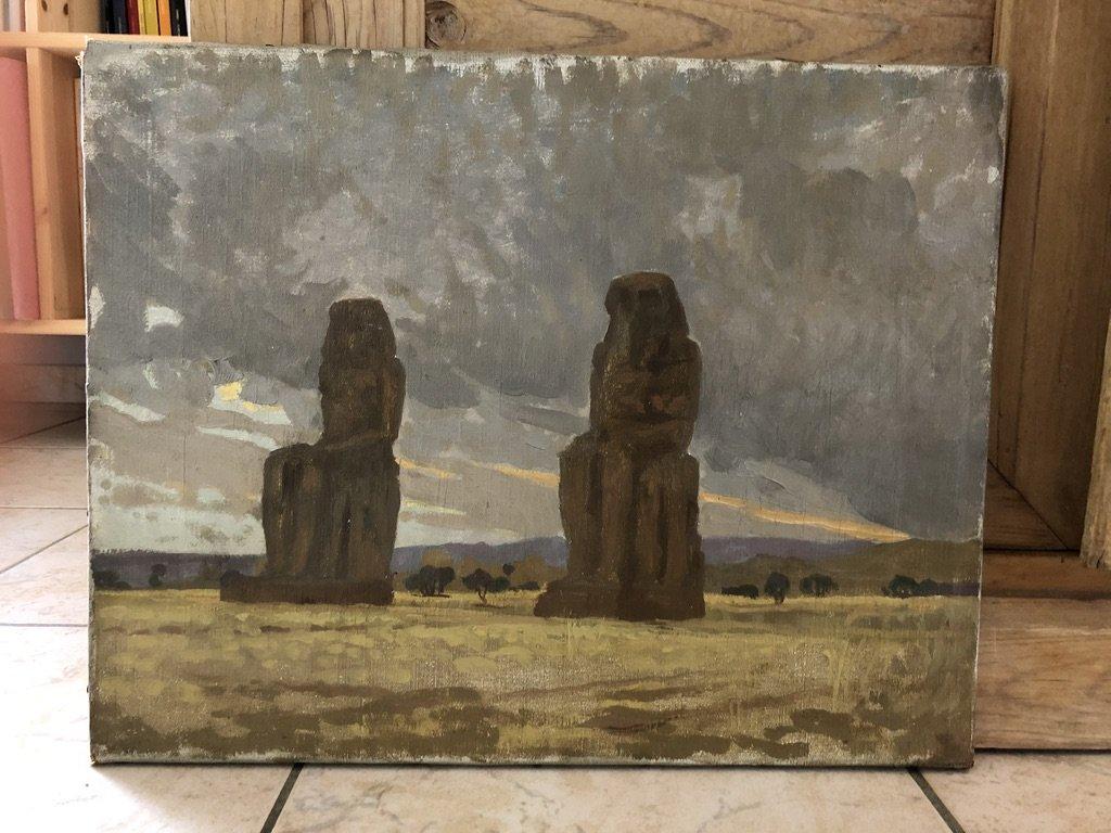 Henri Rapin (attr. To) (1873-1939), The Colossi Of Memnon, Landscape Of Egypt, Oil On Canvas-photo-1