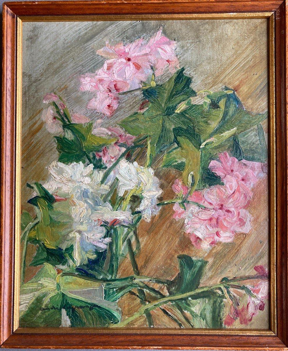 André Lagrange (1889-1958), Les Géraniums, Fleurs, Huile Sur Carton