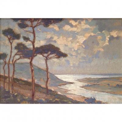 Charles Bisschops (1894-1975), L'estuaire (Bretagne), Gouache