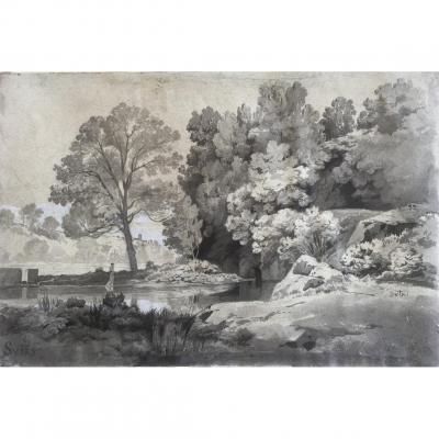 Antoine PONTHUS-CINIER ( Lyon 1812-1885), Italie/ Sutri