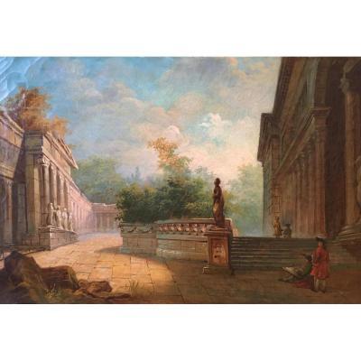 Ecole Du XIXe, d'Après Hubert Robert, Colonnade Et Jardins Du Palais Médicis
