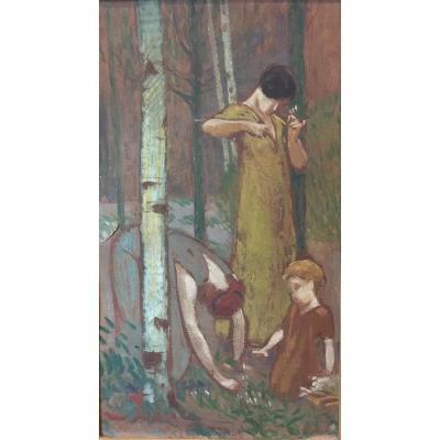 Breval ? Vers 1920, La Cueillette Du Muguet, Huile Sur Carton, Art Décoratif