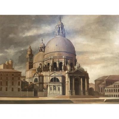 Ecole Du XXe Siècle, La Basilique Santa Maria Della Salute De Venise, Huile Sur Panneau
