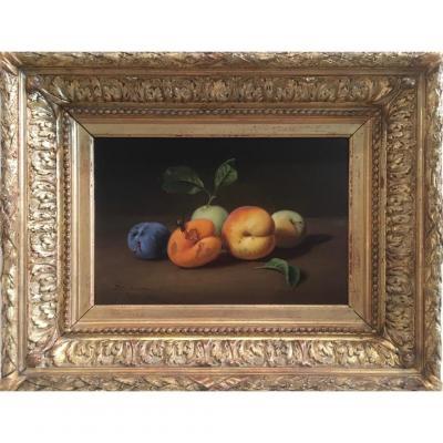 Jules Caron (paris 1806- 1881), Nature Morte Aux Fruits Et à La Guêpe, Huile Sur Panneau
