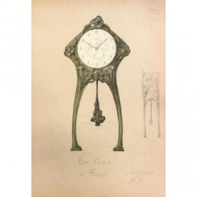 Dessin Art Nouveau, G.fincken d'Autermarche, Pendule En Bronze, Ecole Nationale Arts Décoratifs