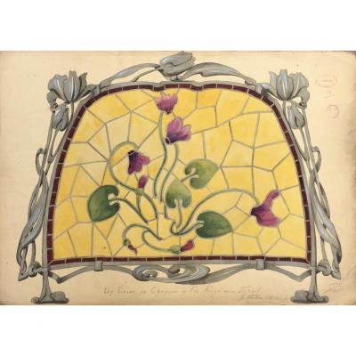 Dessin Art Nouveau, G.fincken d'Autermarche, Etude De Vitrail, Ecole Nationale Arts Décoratifs