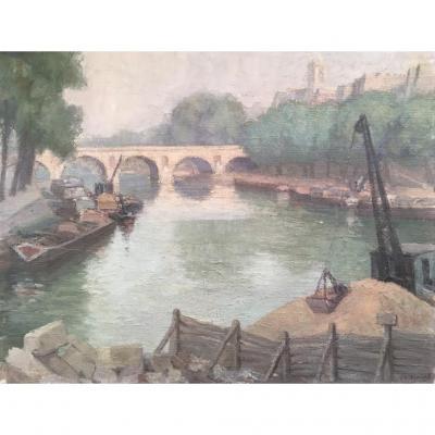 Jeanne-clémentine Thoinot (xxe), Le Pont Marie à Paris, Huile Sur Toile