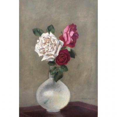 Charles Lacoste (floirac 1870-paris 1959), Bouquet De Roses Dans Un Vase Transparent, Huile