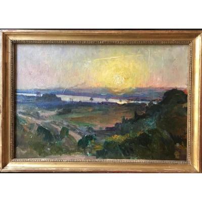 William Laparra (1873-1920), Vue De La Buttinière Sur Bordeaux, Huile Sur Toile