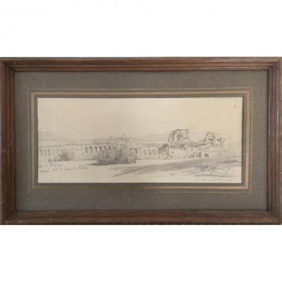 Claude Bonnefond (lyon 1796-1860), Ruines Dans La Campagne De Rome Près De Saint Jean De Latran