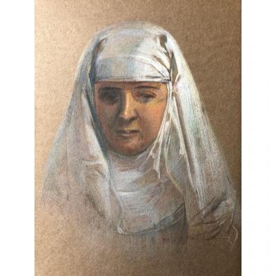 Czeslaw Borys Jankowski (1862-1941), Portrait De Femme, Religieuse? Dessin Pastel