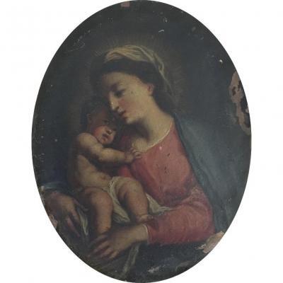Ecole Italienne Du XVIIIe Siècle, Entourage De S. Conca, Vierge à l'Enfant, Huile Sur Cuivre