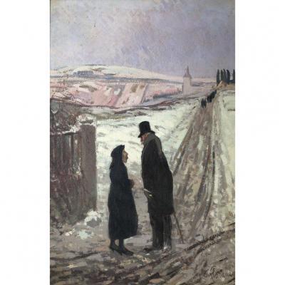 Louis Marie Blanchard (1871-1939) Dit Florane, La Discussion, Huile Sur Carton, 1925