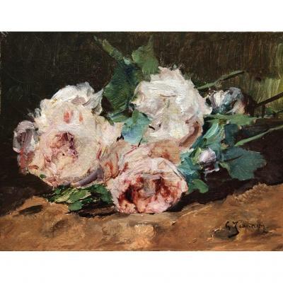 Georges Jeannin (1841-1925), Nature Morte Aux Fleurs : Jeté De Roses, Huile Sur Toile