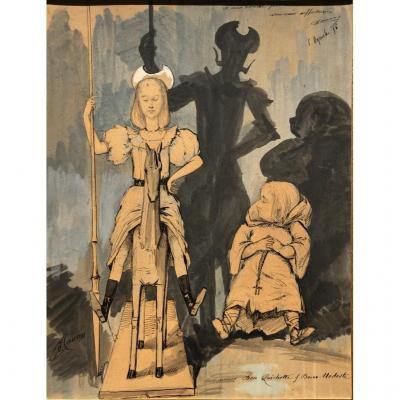 Ecole Française Du XIXe, Causon?, Don Quichotte Et Dom Modeste, Dessin Aquarelle Illustration