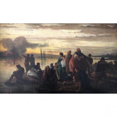 August Ludwig Schott ( Allemagne 1811-1843), l'Incendie De Rome?, Esquisse, Huile Sur Toile