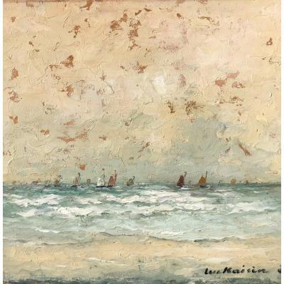 Luc Kaisin (1900-1963), Voiliers Au Large : Marine, Huile Sur Panneau