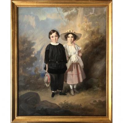 Ecole Française Ou Suisse Vers 1830, Portrait d'Enfants: Jenny Et Louis Fatio, Huile Sur Papier
