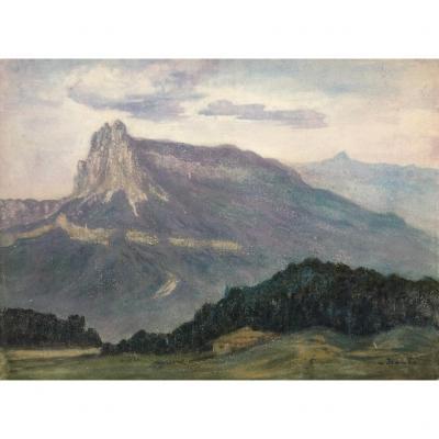Sigismond Jeanès (1863-1952), Paysage Des Dolomites, Montagne Italie, Gouache/papier Symbolisme