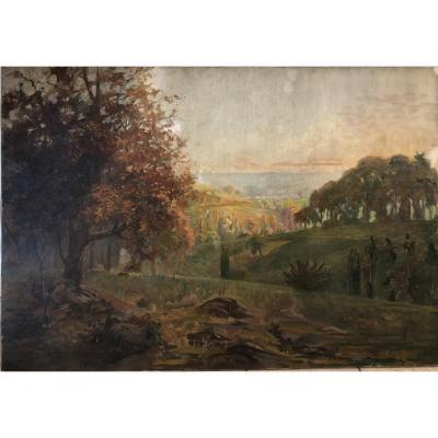 F Guillermain (xxe), Paysage D'automne, Arbre, Huile Sur Toile