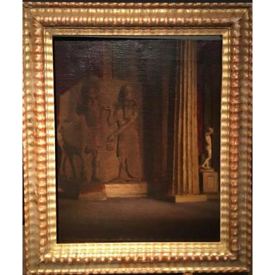 A.sadler (ecole Anglaise - XIXe Siècle), Vue De l'Intérieur Du British Museum à Londres, Huile