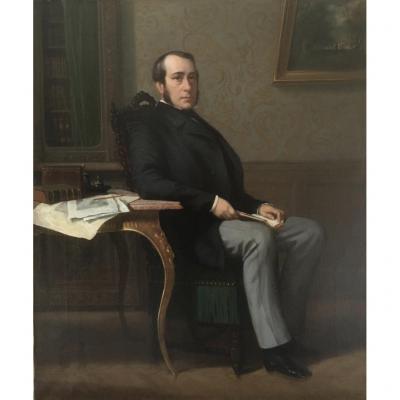 Charles Borromée Houry (1823-1898), Portrait d'Homme Dans Son Intérieur, Huile Toile, Sèvres