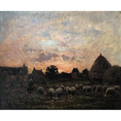Ecole Française Du XIXe, Troupeau De Moutons Et Berger Au Coucher Du Soleil, Huile barbizon