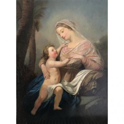 Ecole Française Du Milieu Du XIXe Siècle, Saint-Ange, Vierge à l'Enfant, Huile Sur Panneau 1856
